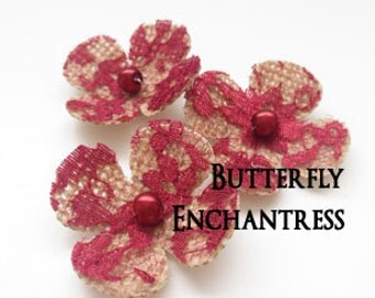 Bridal Hair Accessories, Burgundy Wedding Hair Flowers - 3 Natural Burlap Crimson Red Lace Lila Hydrangea Flower Bobby Pins - Pearl Centers