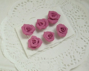 PUSHPIN Pink Mauve Handmade Clay Roses Set of 6 Thumbtacks SVFteam ECS sct schteam