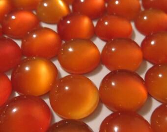 Orange Onyx - 10 mm Round Cabochons, Set of 5