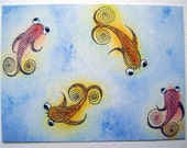 ACEO / ATC Print of an original painting little goggle eyed fish in their pond