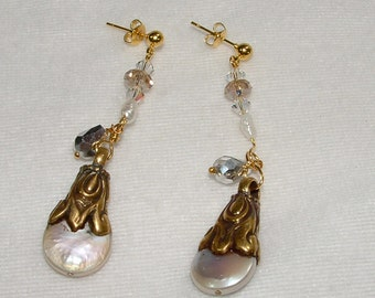 Elegant Handmade Pearl and Crystal Earrings on Gold Plated  Posts