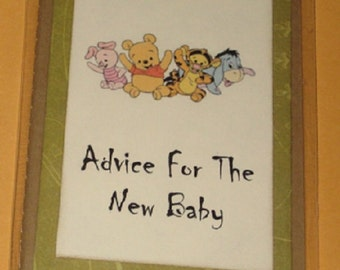 Baby's Journal Moleskine ruled Notebook Advice for the New Baby Pooh babies