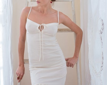 Beautiful Organic Cotton Slip trimmed with Silk and Lace
