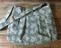 Turtle Diaper Bag Green with Adjustable Strap Six Pockets Custom Colors Available