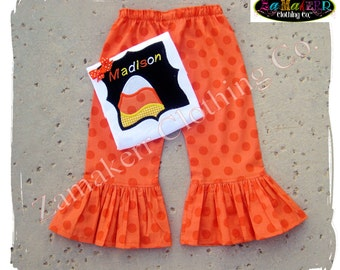 Custom Boutique Clothing Girl Halloween Outfit CANDY CORN PERSONALIZED Tee Costume Pant Set 3 6 9 12 18 24 month size 2T 3T 4T 5T 6 7 8