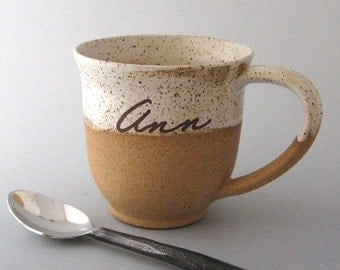 Personalized Mug -  Ceramic Mug - Hand Thrown Mug - Bare Bottom Mug - 10 to 11 ounce - Ready to Finish