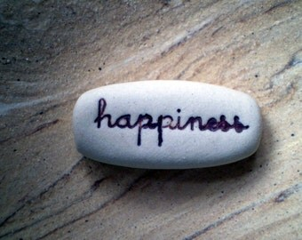 Happiness, Care Package Gift, Message Rock, Wedding Favor, Pocket Saying