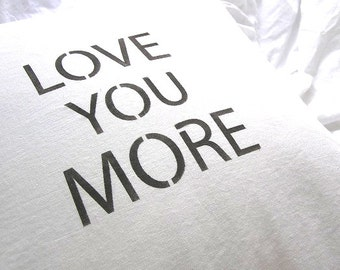 Made To Order White Linen Blend I Love You More Ruffle Pillow SLIP COVER