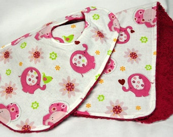 Baby Girl Bib and Burp Cloth Set, Baby Shower Gift, Welcome Baby Gift: Pink Elephants, Green Birds on White - Bright Pink Reverse