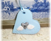 Handmade Heart w/Angel Wings Keepsake Ornament For Babies Baby Boys Infant Toddler Memorial Baptism Christening Dedication Handmade Gift Tag