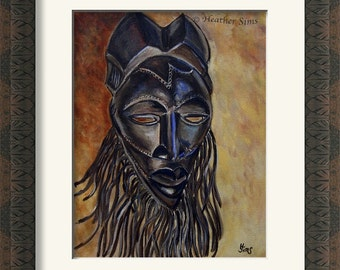 African mask, rustic wall art print, rustic home decor, giclee PRINT, Africa art, Bohemian decor, yellow art, Heather Sims. Size Mat OPTION