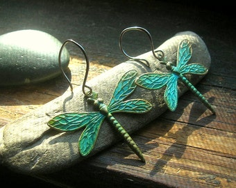 Dragonfly Verdigris patina brass charm earrings