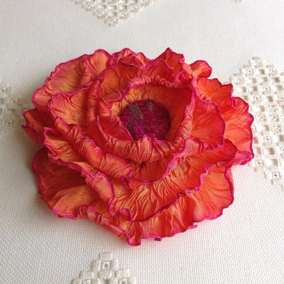 French Wired Ribbon Peony Flower pin Fuchsia Sunset Ombre with a vintage antique lace covered velvet center.