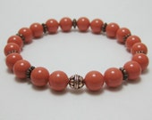Coral orange pearl bracelet - Swarovski pearls - stretch bracelet - stackable bracelets