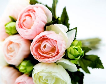 CLUTCH BOUQUET Crimped Petaled Ranunculus Bouquet in Lt Pink, Lime Green, White - ITEM 0946
