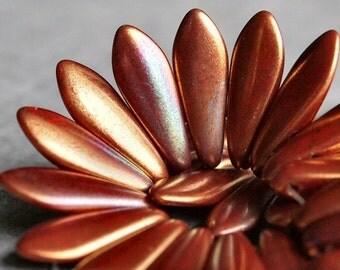 Opaque Red Bronze Luster Iris Czechmates Dagger 2 Hole Czech Glass 16mm Bead : 50 Beads