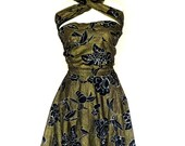 Vintage Tropical Wrap Dress Bird of Paradise Sz M