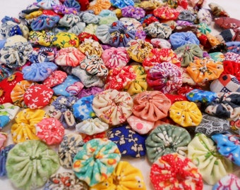 "Fabric Flowers Appliques Pinwheel 1"" Button Scrapbook Embellishment Bobby Pin Trim 24"
