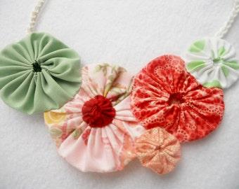 CORAL Necklace YoYo Necklace Bridesmaid Mint  Fiber Art Bib Statement Necklace Fabric Necklace Wholesale