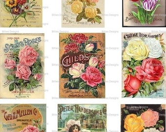 Vintage Seed Packet Digital Download Backs Seed Package Garden Gardening Mixed Media Scrapbooking Card Making Altered Art