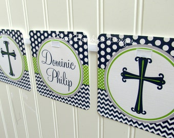 Baptism Banner / Personalized Banner for Communion, Confirmation, Baby Dedication, Christening / Navy Blue, Lime Green and Gray Chevron