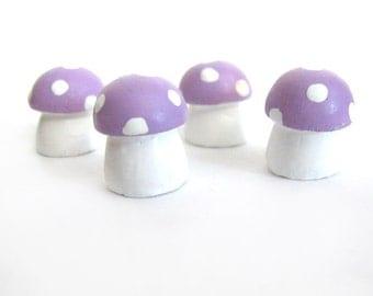 4 Handmade Miniature Mushrooms - Fairy Garden Terrarium Accessories - Light Purple Lilac