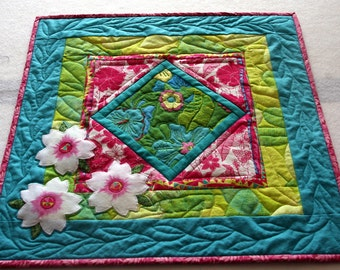 Spring Flowers Art Quilted Wall Hanging, Turquoise, Pink, Green