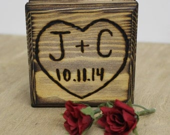 Rustic Wedding Ring Bearer Box Country Wood burned Personalized Engraved Natural Pillow Alternative