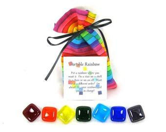 Portable Rainbow, Glass Rainbow Tiles with Rainbow Bag