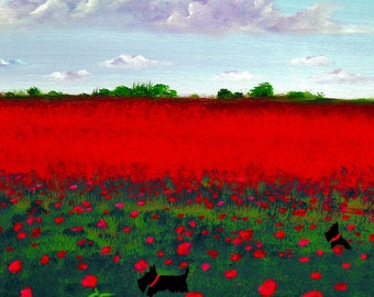 Scottie Dog folk art PRINT of Todd Young painting POPPIES