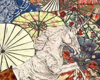 Unicorn Amongst Umbrellas XXII- Multimedia - Lino Block Print Unicorn with Collaged Japanese Paper Parasols