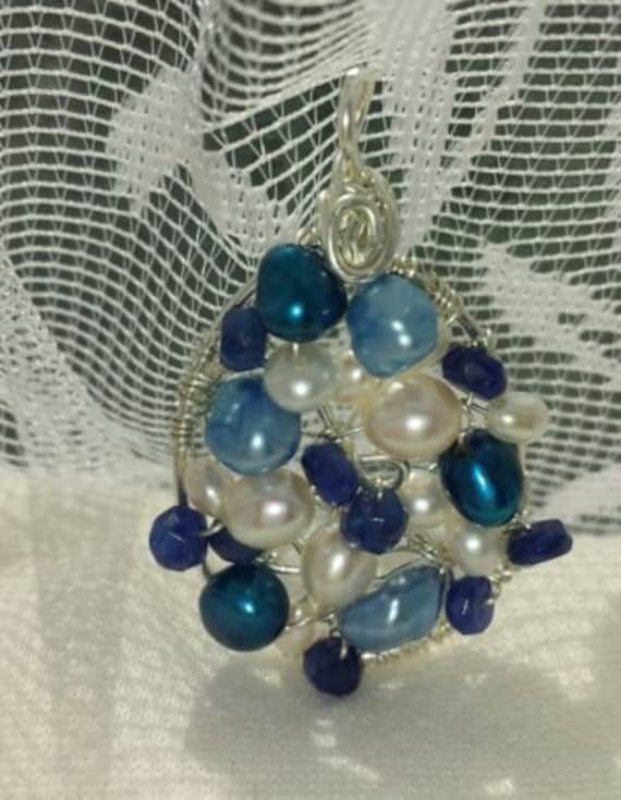 Wire wrapped Sterling silver one-of-a-kind Sapphire Pearl Oval Pendant