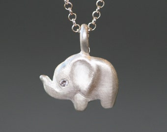 Side Elephant Necklace in Sterling Silver with Diamonds
