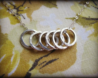 Mother and Children Eternity Six Rings Necklace - 6 Petite Infinity Circles Sterling Silver - Mother's Day Gift Mom Grandmother
