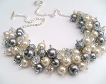 Wedding Pearls, Cluster Pearl Necklace, Bridal Jewelry,  Beaded Chunky Necklace, Bridesmaid Gift, Ivory Silver Gray Pearls