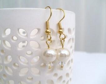 Ivory Pearl Beaded Earrings for Bridesmaids, Wedding Jewelry, Bridal Jewelry, Pearl & Crystal Earrings, Ivory Single Drop Earrings