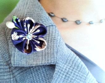 Lapel Pin - Royal Blue Cherry Blossom Kimono Silk Fabric Flower - Sale