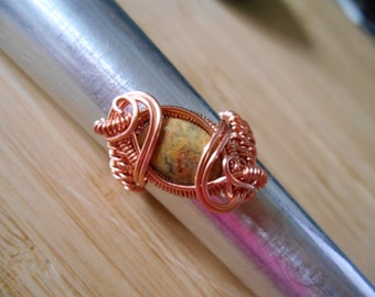 Crazy Lace Agate Bead Copper Wire Wrapped Parawire Wire Wrapped Ring Size 8 1/2 Wire Wrapped Jewelry Handmade