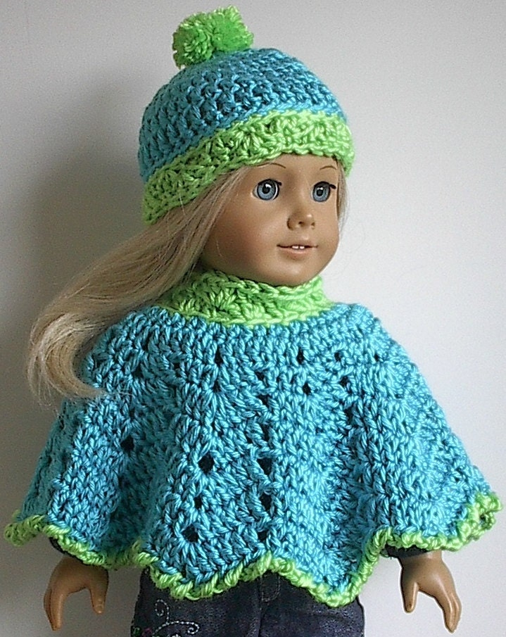 Crochet Doll Cape Pattern : American Girl Doll Clothes Crocheted Poncho and Hat in