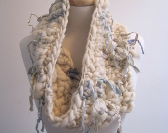 "cream cowl, cream neckpiece, hand spun wool cowl, hand made warm scarf, infinity scarf,  blue gold fabric cowl ""ice queen"""