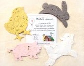 15 Farm Birthday Party Favors - Plantable Seed Paper Pigs Cows Sheep Chicks - Barn Yard Animal Birthday Party Personalized Favor Cards