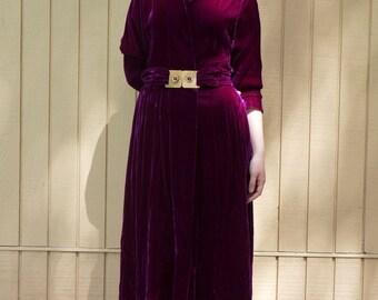Velvet 1930s evening dress/ Eggplant color/ Long dress