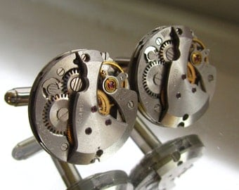 Steampunk Jewelry, Steampunk Mens round Watch Cufflinks  Fathers Day Wedding Anniversary Vintage upcycled mens Cuff Links