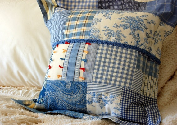 French Country Patchwork Pillow Blue Amp White Home Decor