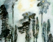 PRINT of The Long Way Home Painting Woods Forest Sky Surreal Landscape Katie Hofacker Giclee