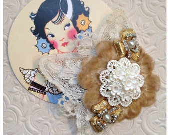 Romantic Antique White and Lace Hair Clip made with Vintage Jewelry