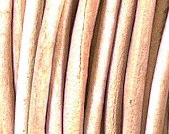 Natural (You Pick Length) .5mm Genuine India Leather Cord 420409