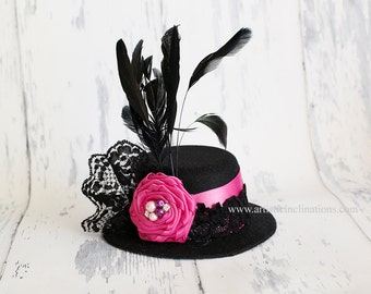 Prim and Proper - Mini Top Hat Black Hot Pink Rosette Feathers and Pearls for Toddler to Adult