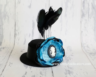 Gone with the Wind - Black Mini Top Hat with Handmade Couture Flower and Cameo, Feathers and Lace