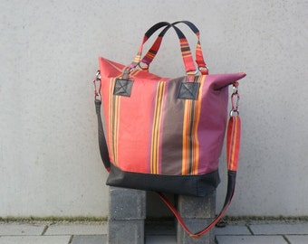 Waxed Big Bag. French Decoration Fabric. Red Purple Orange Stripes. Shoulder Bag with Leather Bottom.